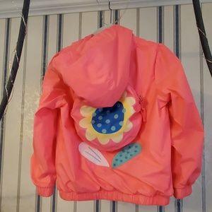Cat & Jack Coral Raincoat Flower Built in Backpack